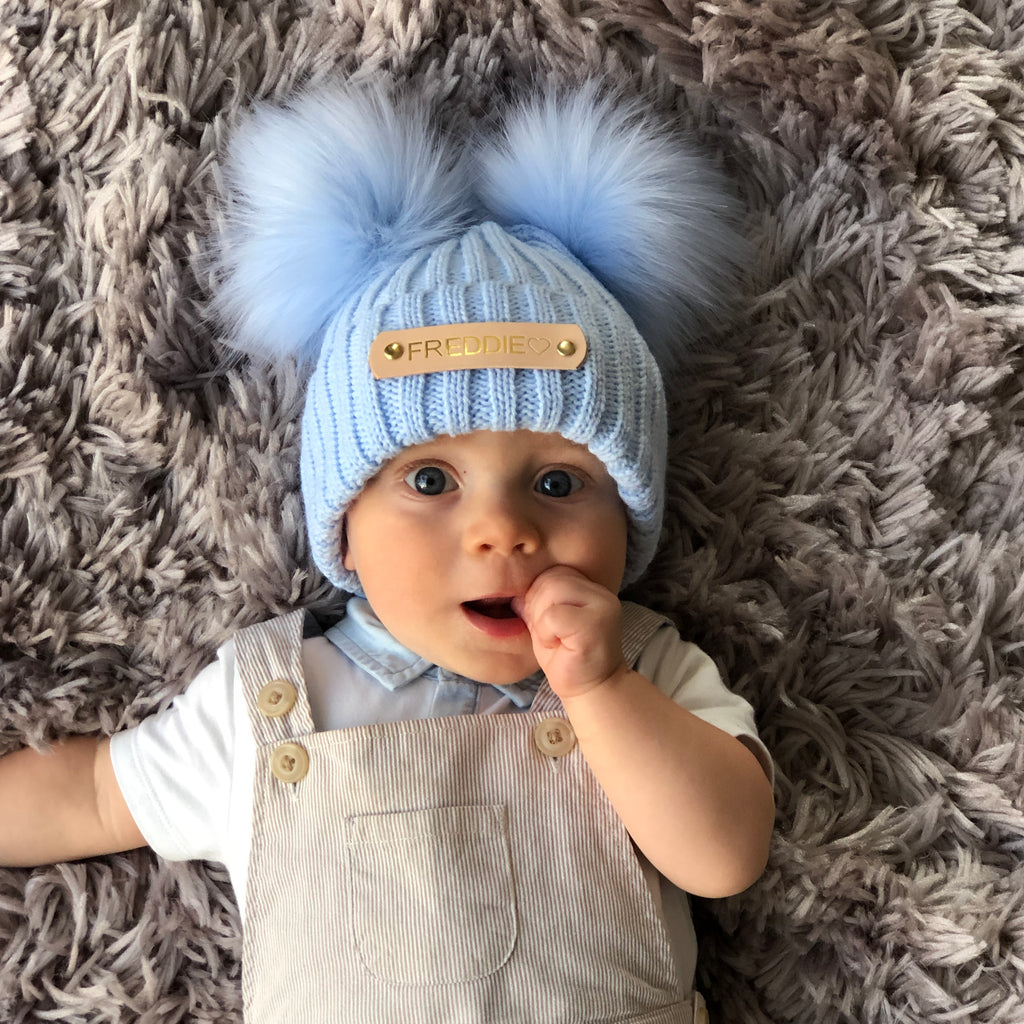 Double Pom Pom Baby Blue Knitted Baby Hat