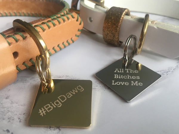 Personalised Gold Diamond Dog Tag