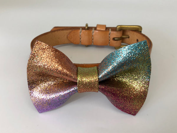 Rainbow Bow Tie Leather Dog Collar