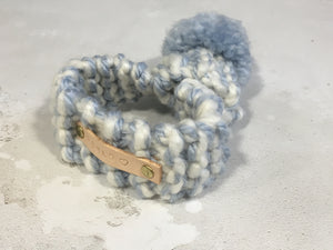 Baby Blue & Cream Knitted Pom Pom Dog Scarf