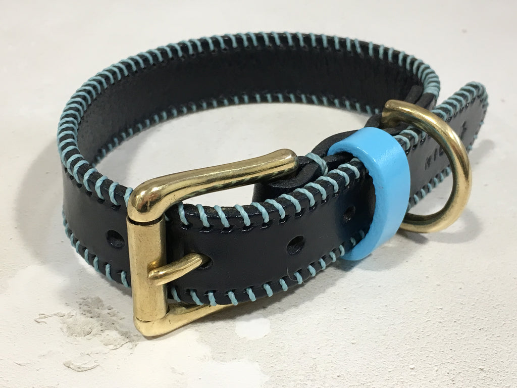 Navy & Baby Blue Ribcage Leather Dog Collar