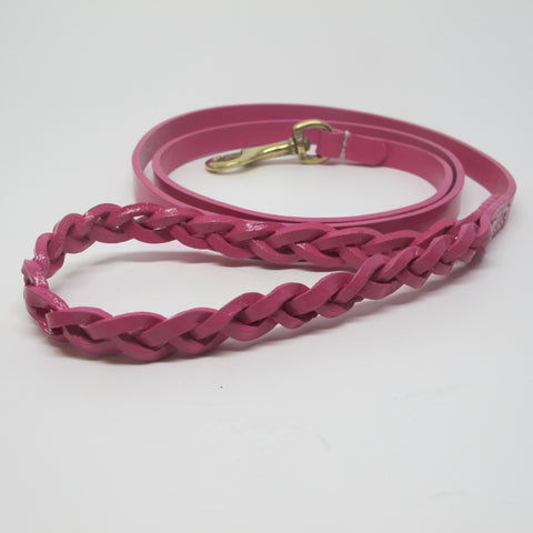 Hot Pink Leather Dog Lead with Plaited Handle