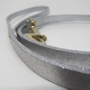 Personalised Silver Glitter Leather Dog Lead