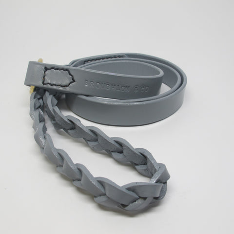 Personalised Pastel Grey Leather Dog Lead with Plaited Handle