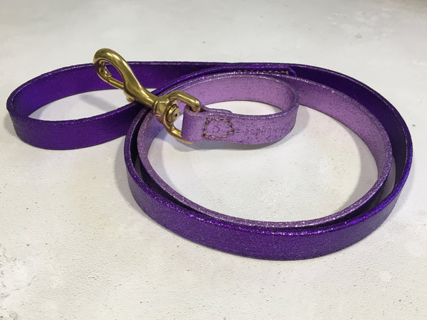 Purple & Lilac Glitter Ombre Leather Dog Lead
