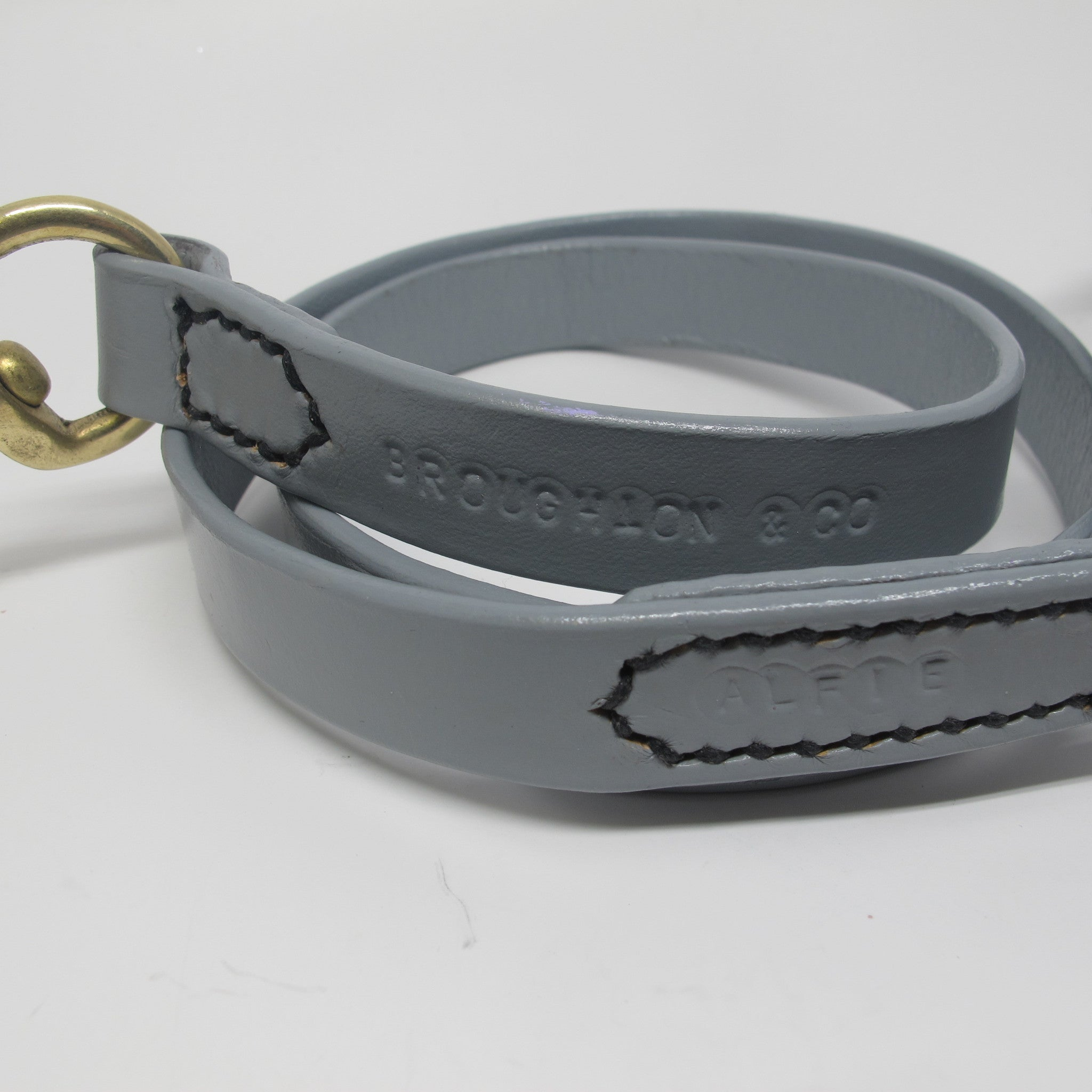 Personalised Pastel Grey Plaited Leather Dog Collar and Lead Set