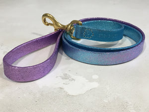 Blue & Lilac Glitter Ombre Leather Dog Lead