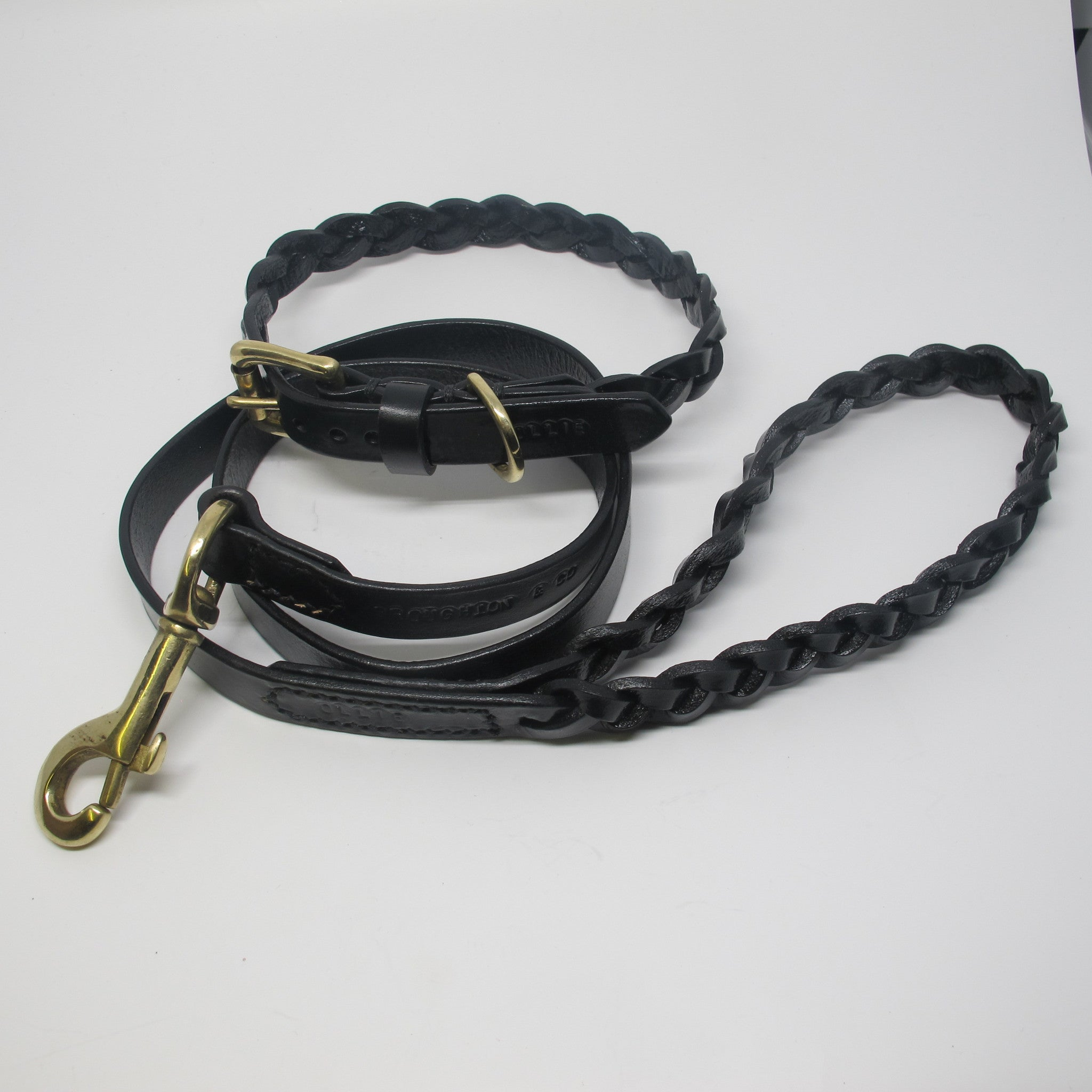 Black Plaited Leather Dog Collar and Lead Set