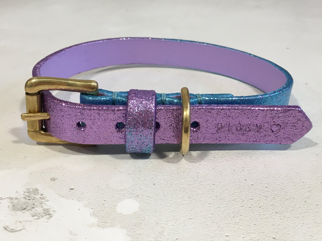 Lilac & Blue Glitter Ombre Leather Dog Collar