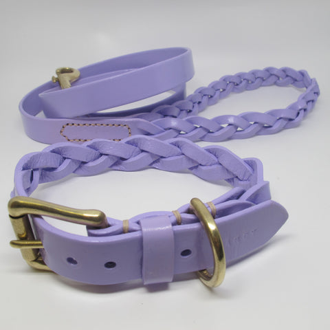 Personalised Lilac Plaited Leather Dog Collar and Lead Set