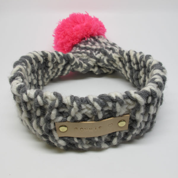 Grey & White Knitted Dog Scarf with Neon Pink Pom Pom
