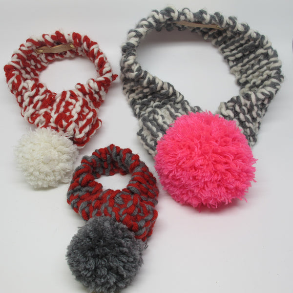 Knitting Pattern For A Dog Scarf : Red & White Knitted Dog Scarf with White Pom Pom