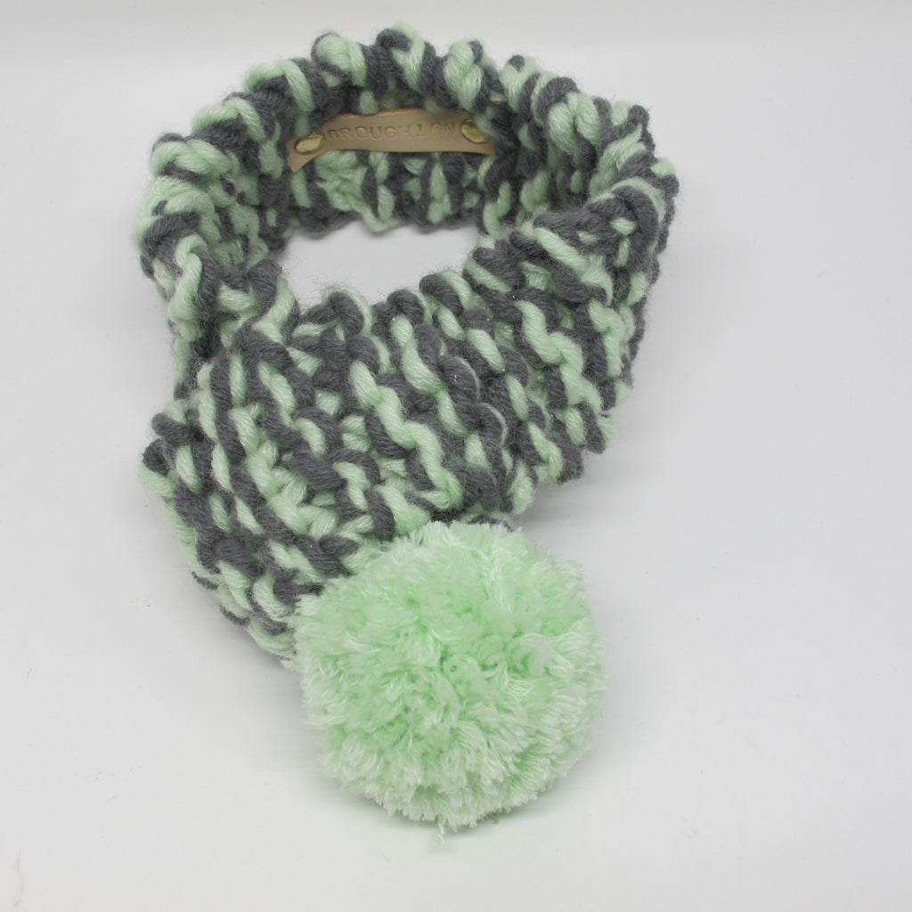Mint Green & Grey Knitted Dog Scarf with Mint Green Pom Pom