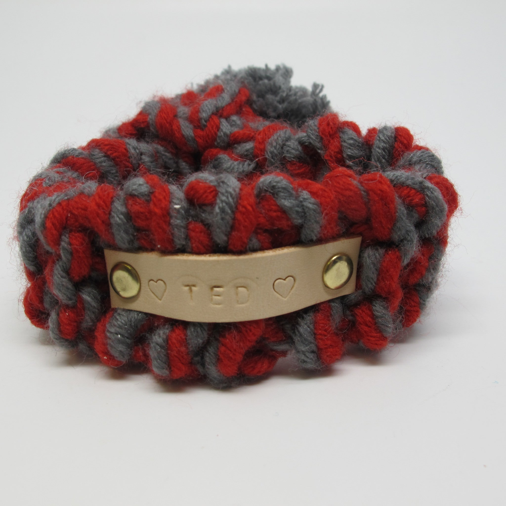 Red & Grey Knitted Dog Scarf with Grey Pom Pom