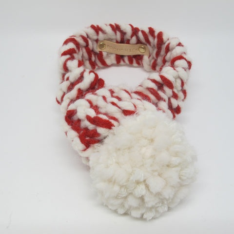 Red & White Knitted Dog Scarf with White Pom Pom