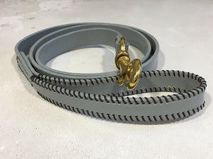 Pastel Grey Leather Dog Lead with Brown Ribcage