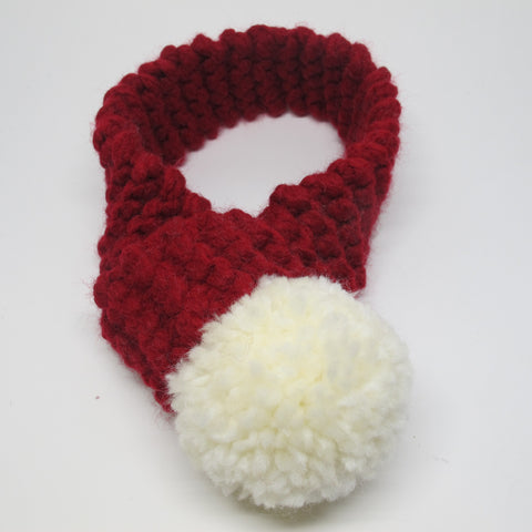 Christmas Red Winter Dog Scarf with White Pom Pom