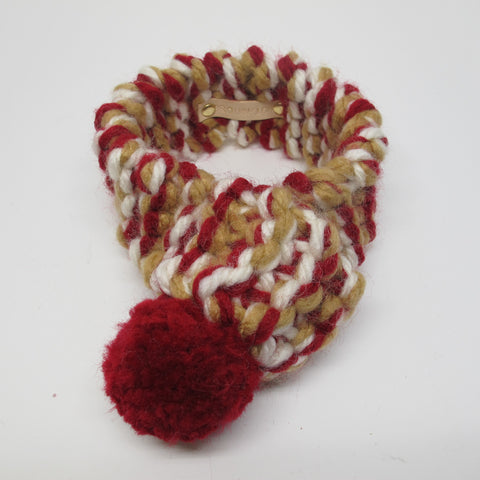 White, Beige & Red Personalised Dog Scarf with Red Pom Pom
