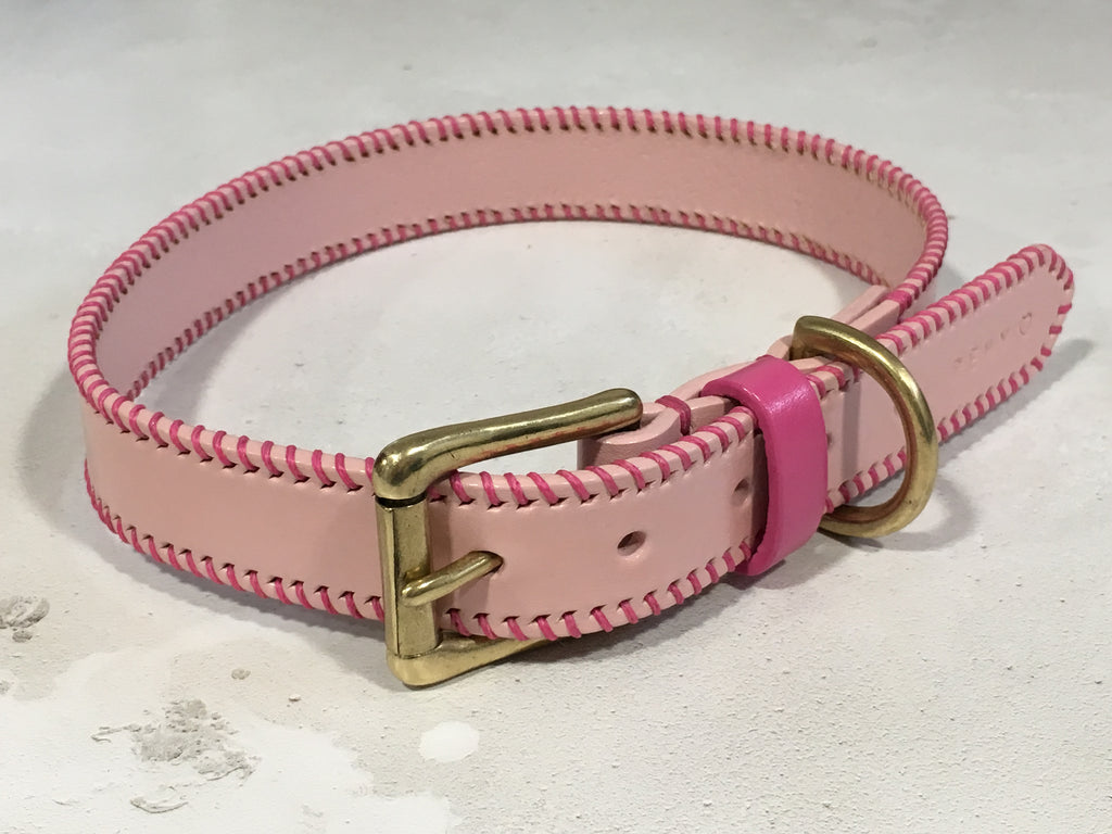Pastel Pink Leather Dog Collar with Barbie Pink Ribcage