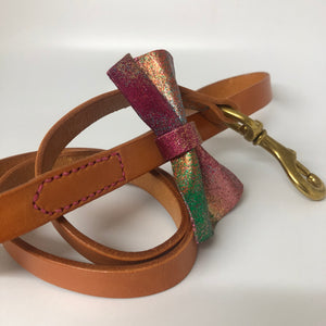 Natural Nude & Rainbow Bow Tie Leather Dog Leash