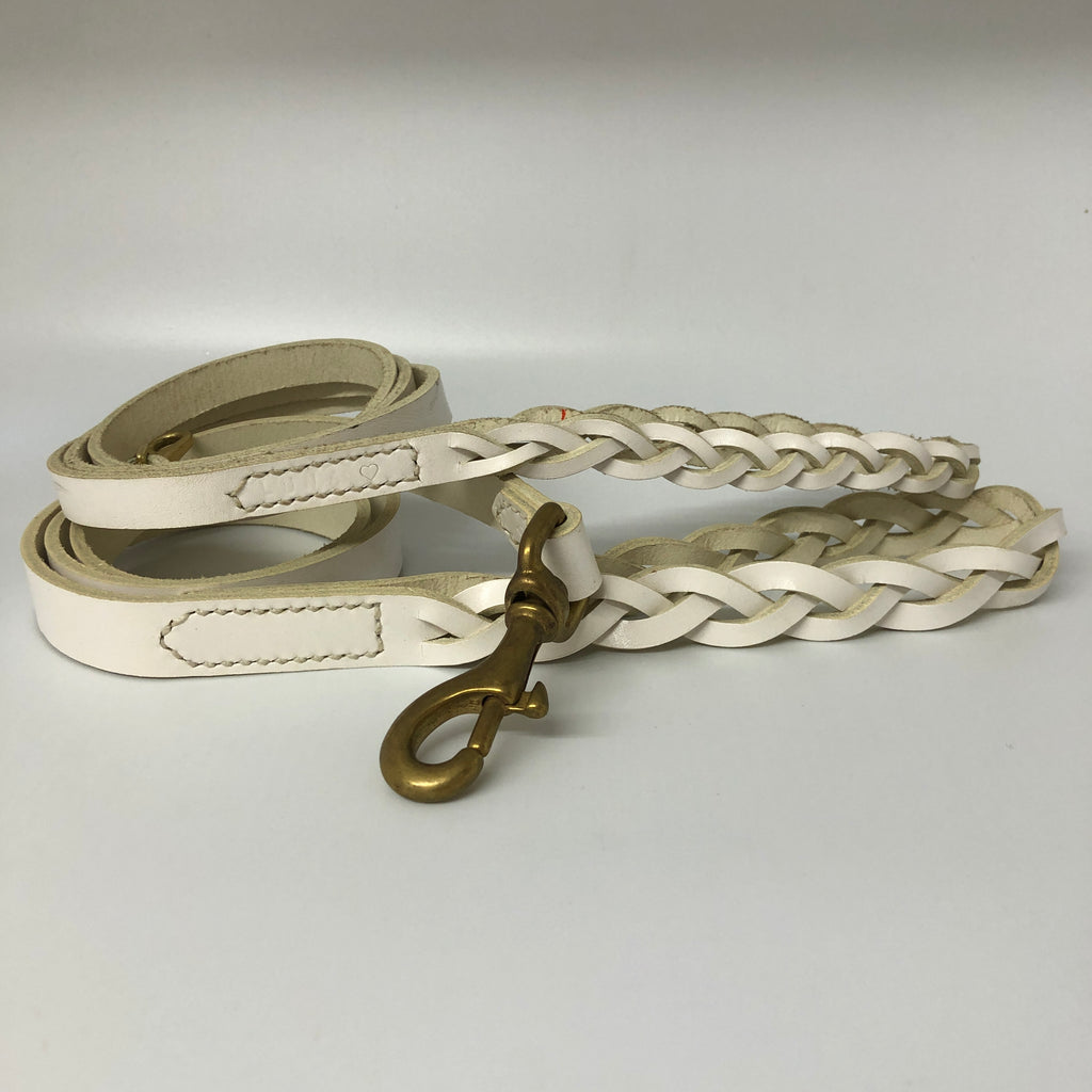 White Plaited Dog Lead