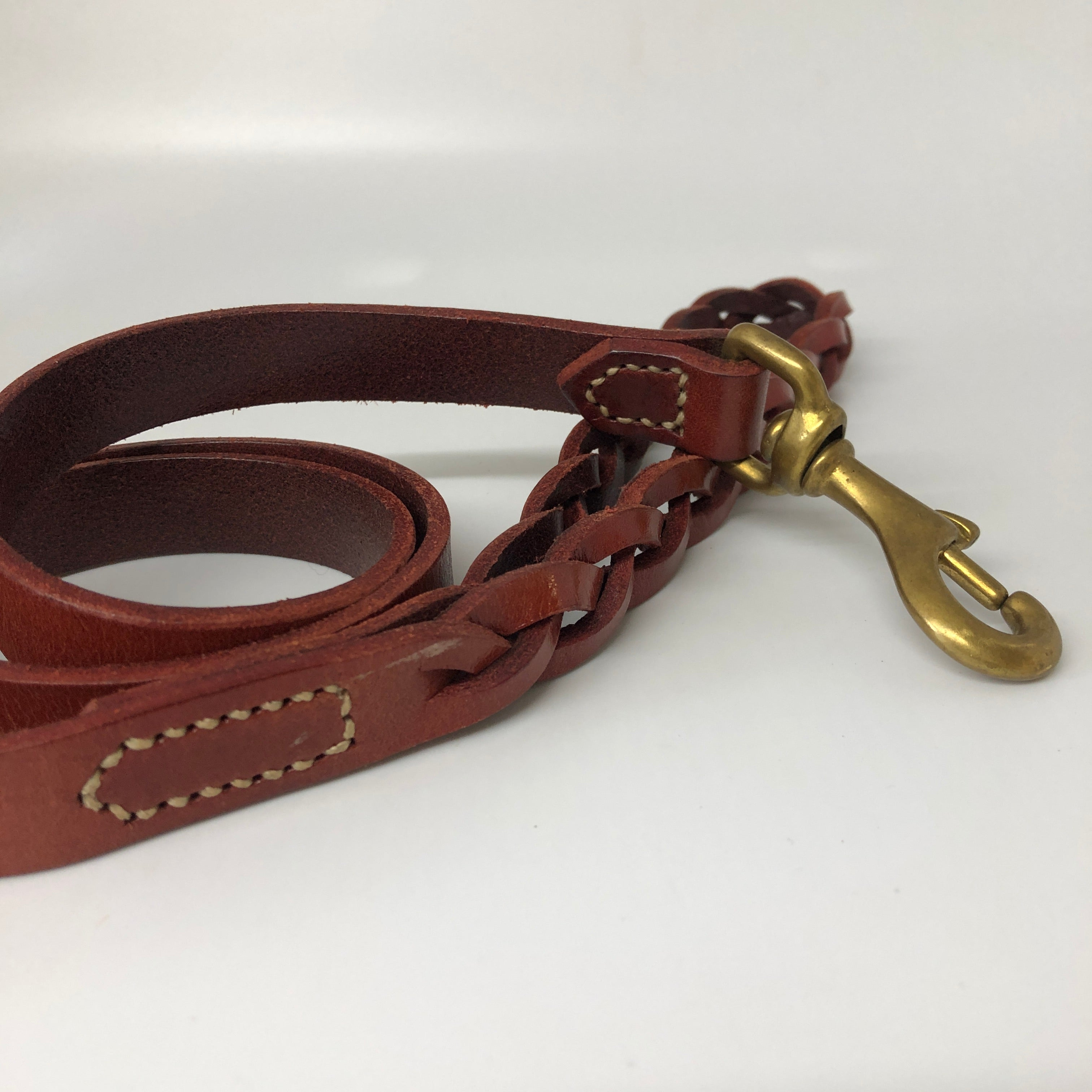 Bordeaux Plaited Leather Dog Lead