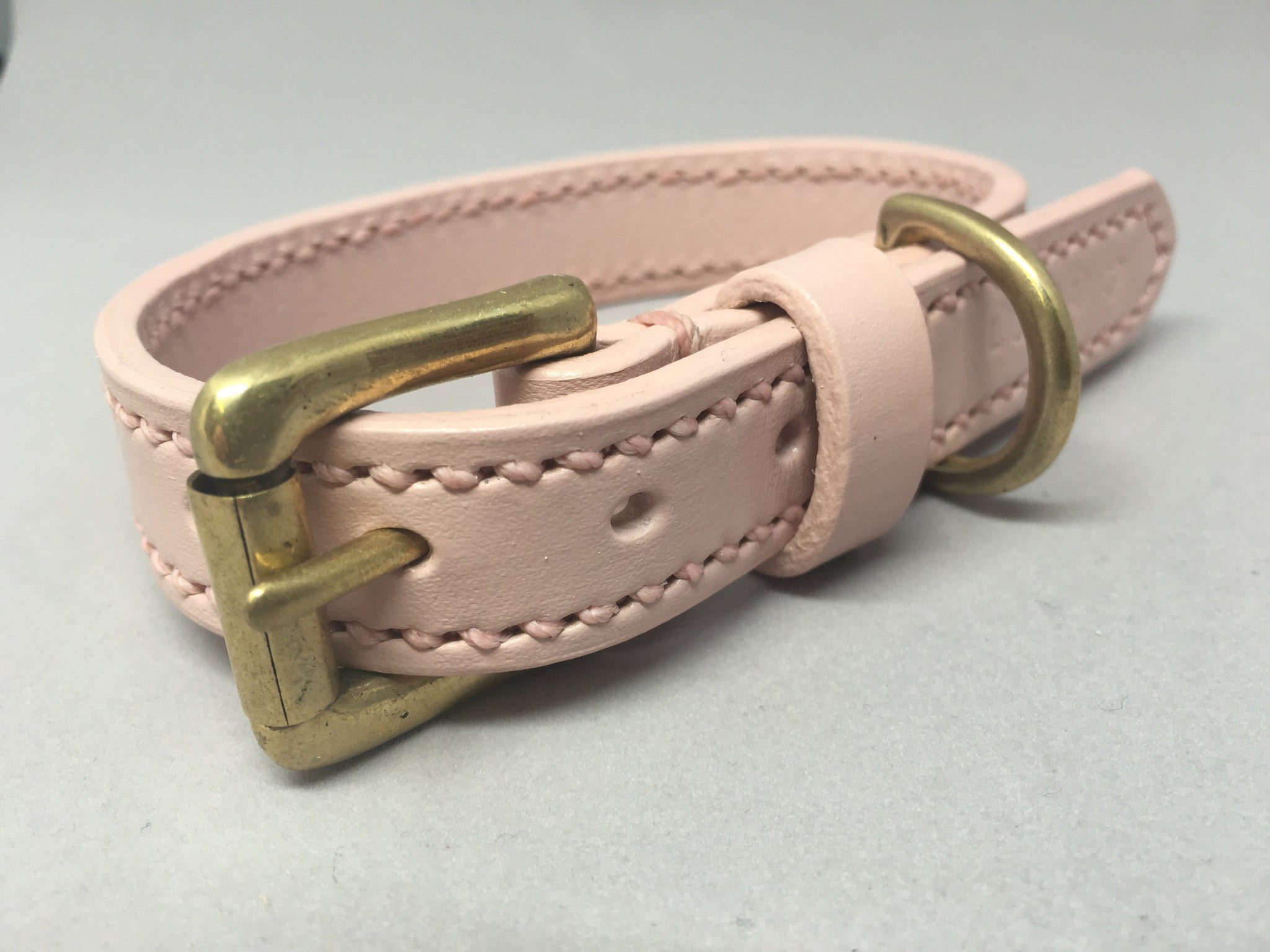 Pastel Pink Full Stitched Leather Dog Collar and Lead Set