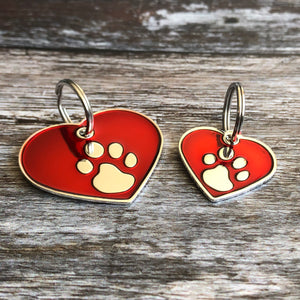 Red And Silver Heart Pet ID Tag