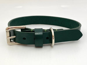 luxury green leather dog collar