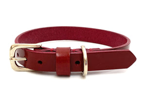 bordeaux red leather dog collar