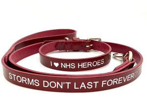 NHS leather dog collar and lead set
