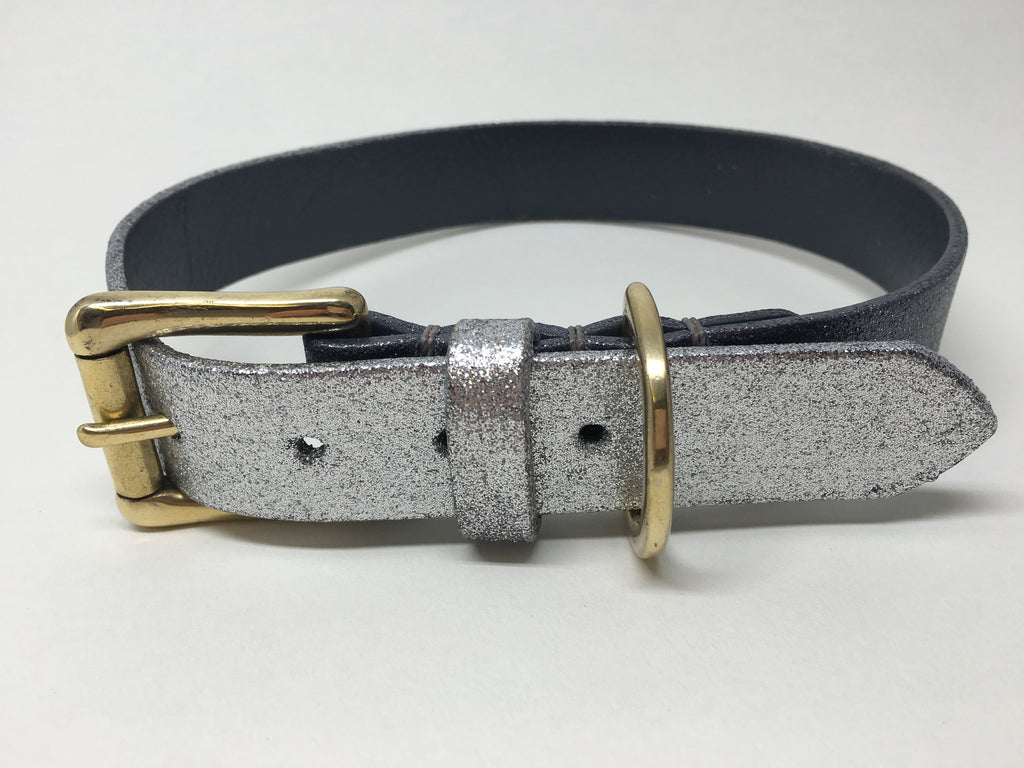 Gunmetal & Silver Glitter Ombre Leather Dog Collar