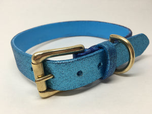 Blue Glitter Ombre Leather Dog Collar