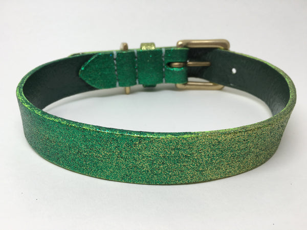 Green Glitter Ombre Leather Dog Collar