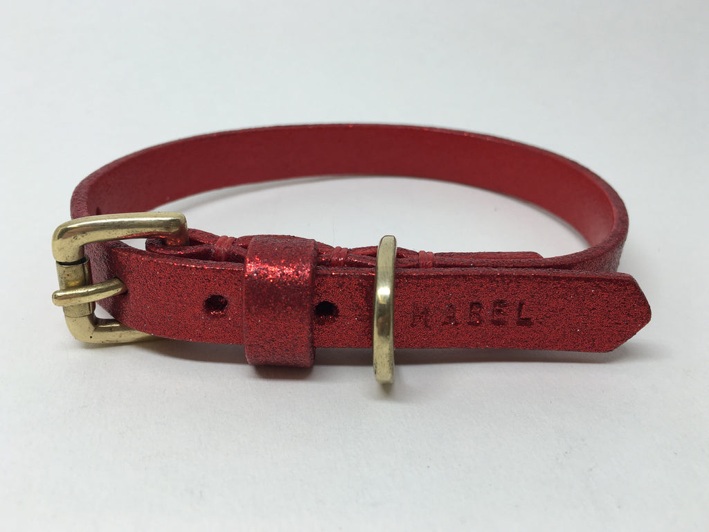 Ruby Red Glitter Leather Dog Collar