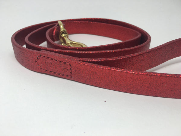 Red Glitter Leather Dog Collar and Lead Set