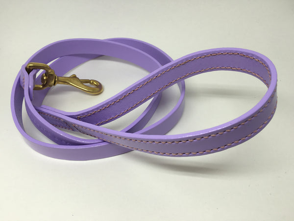 Full Stitched Lilac Leather Dog Lead