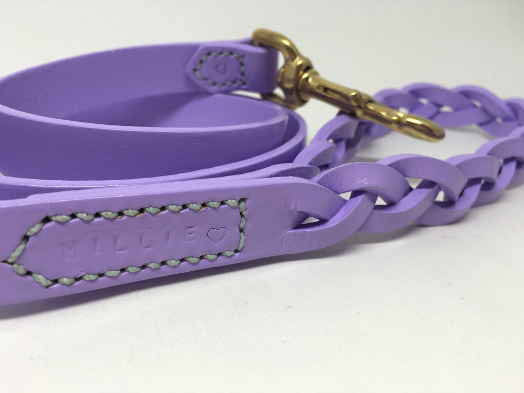 Lilac Leather Dog Lead with Plaited Handle