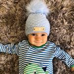 Blue Knitted Baby Pom Pom Hat