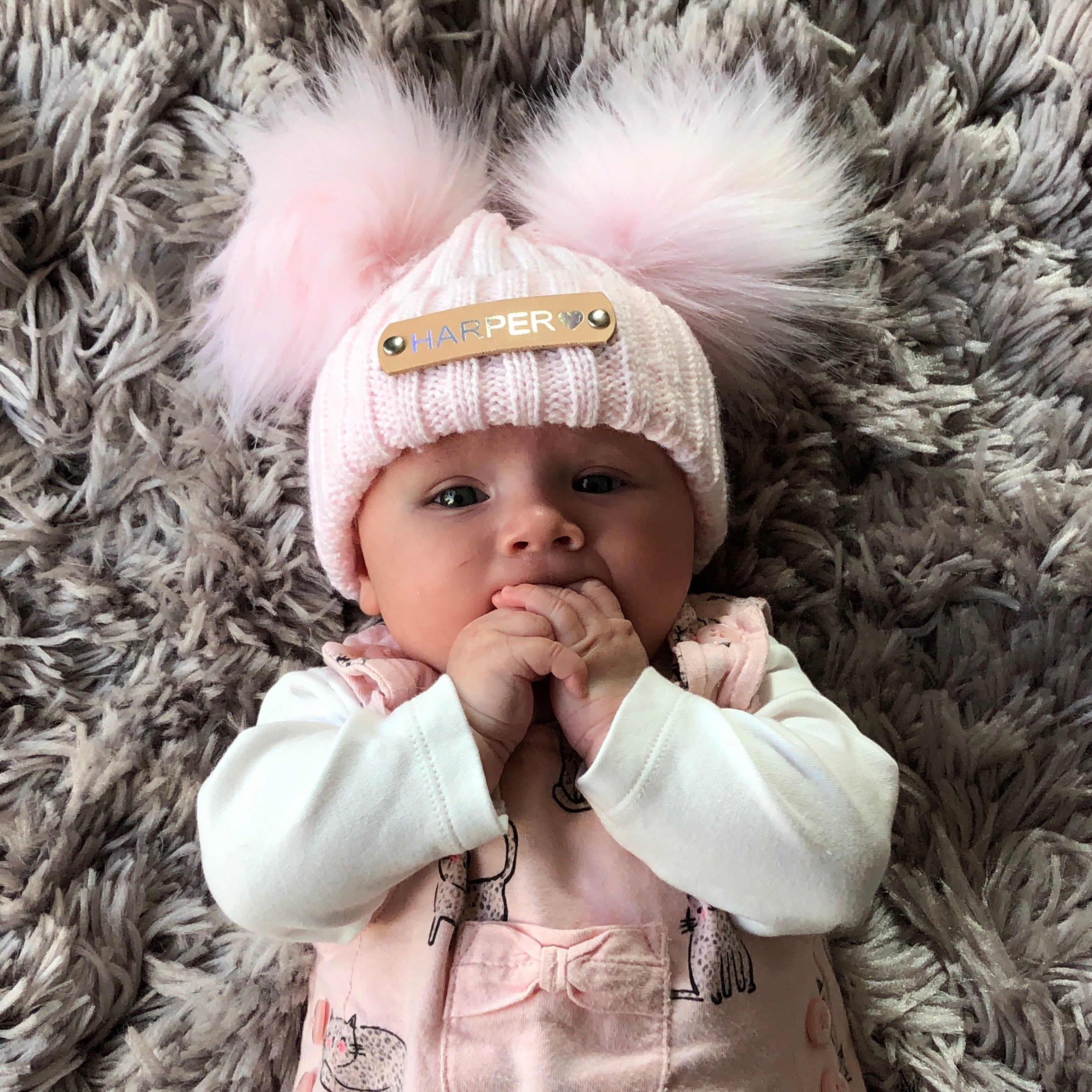 Double Pom Pom Pink Knitted Baby Hat