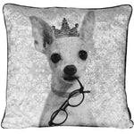 Black And White Filled Crushed Velvet Cushion - Chihuahua