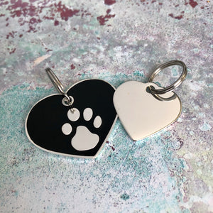 Black And Silver Heart Pet ID Tag