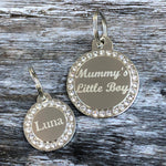 Silver Circle Diamante Dog Tag