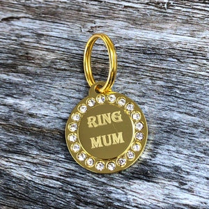 Gold Circle Diamante Dog Tag