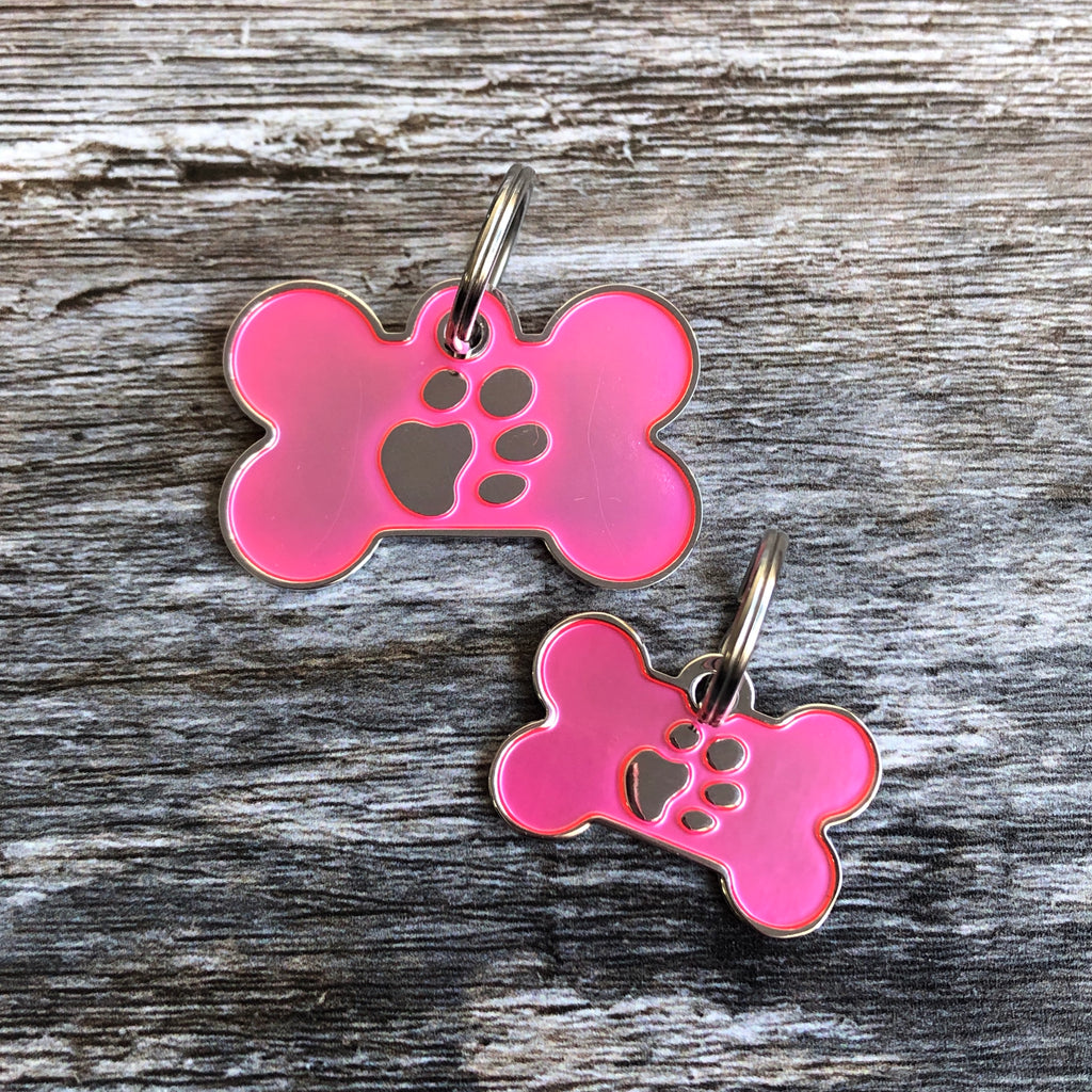 Pink Bone Dog ID Tag