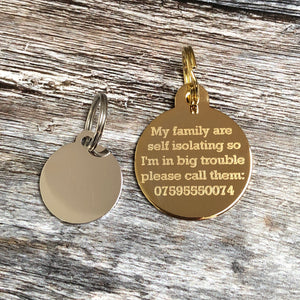 Gold Circular Disc Pet ID Tag