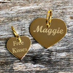 gold heart dog tags