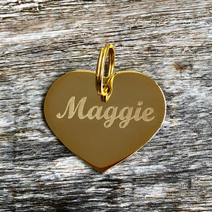 gold heart pet id tag