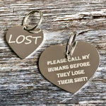 silver heart dog tags