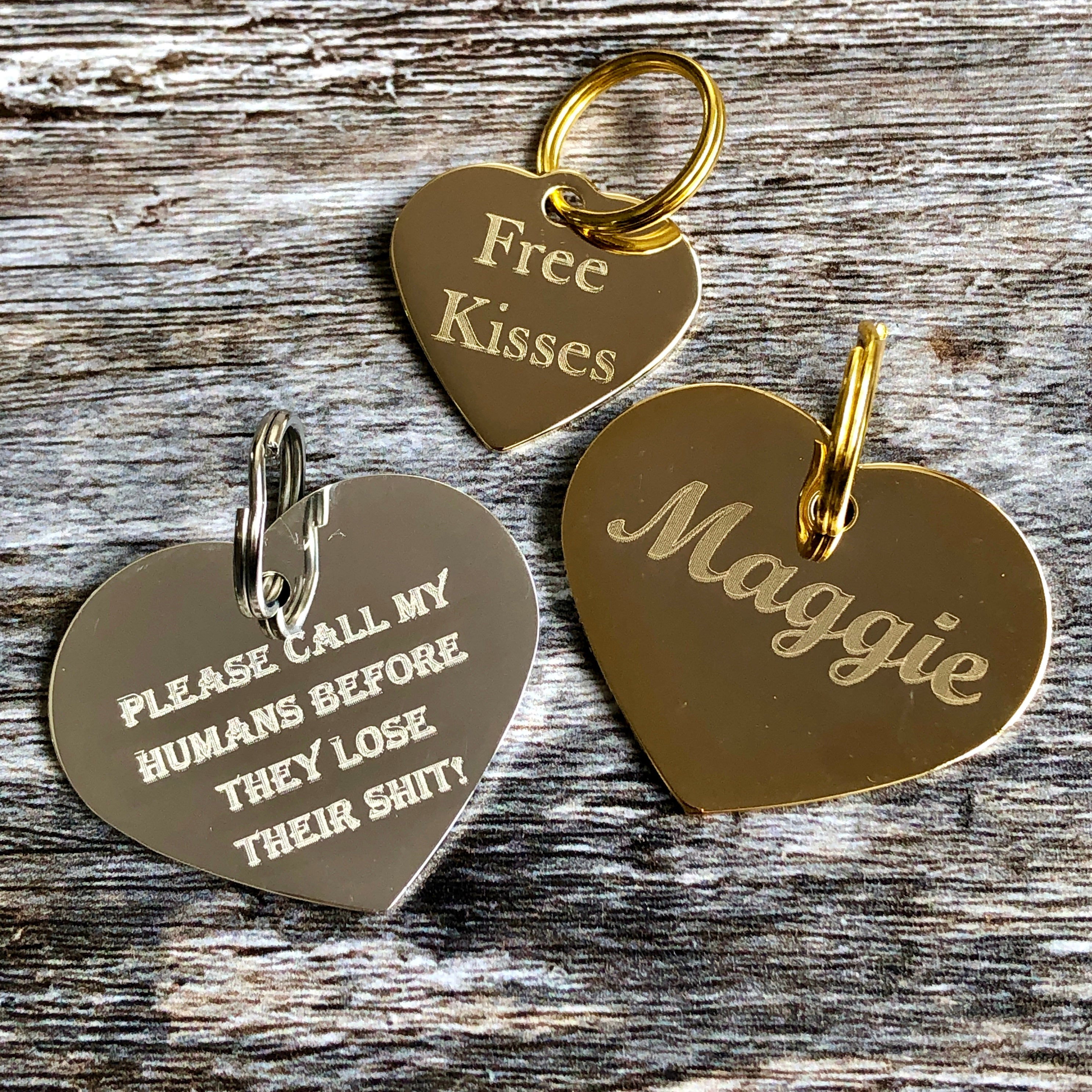 gold & silver heart dog tags